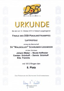 Urkunde DSB-Pokalfinale 2013
