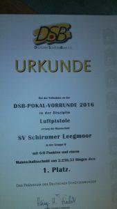 Urkunde Vorrunde DSB-Pokal